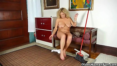 Mature in Nylon Striptease