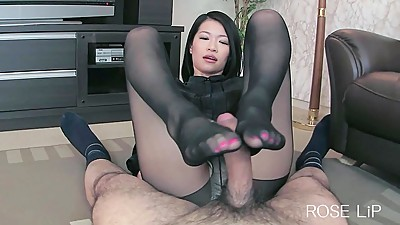 Asian Stocking Footjob