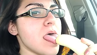 Trying to deepthroat a banana