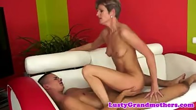 Cocksucking granny pounded by young cock