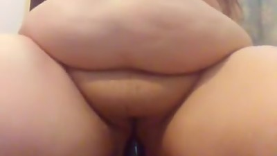 Bbw pussy bouncing on dildo moaning slut