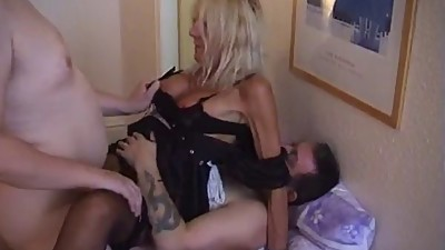 Blond Old Maid Takes Two Dicks And Two..
