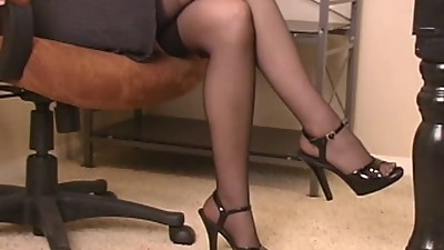 Hot brunette bitch in office dildo..