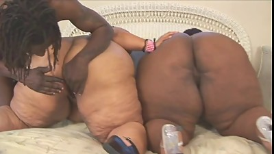 Two huge black hoes lay in bed and rub..