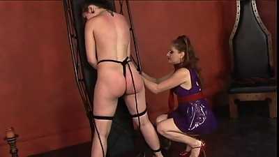 Hot young lesbian restrains her slave..