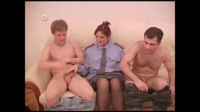 Horny Mature Policewoman Threesome.