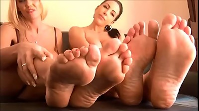 So Hot JOI feet with 2 sexy babes