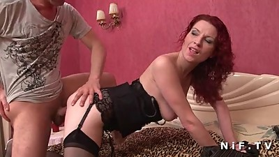 Redhead french milf in lingerie hard..