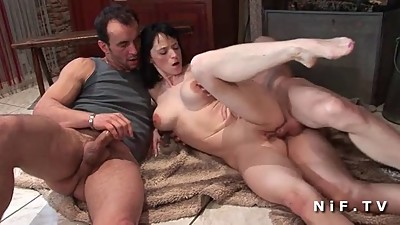 Busty french milf sodomized in threesome