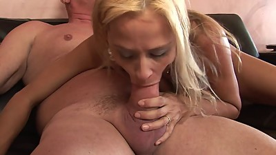Horny blonde MILF gets her hole..