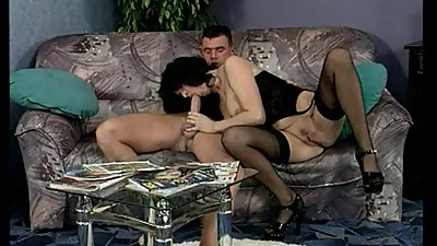 Hot darkhaired german mature sucking..