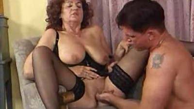 Granny in Black Stockings Fucks