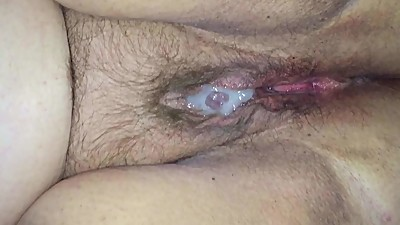 Cum covered BBW hairy pussy