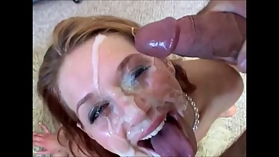 Blonde slut loves cum