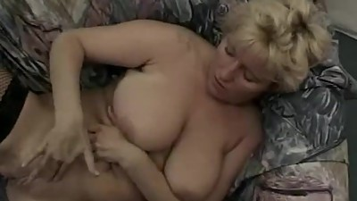 Busty amateur Milf hardcore threesome..