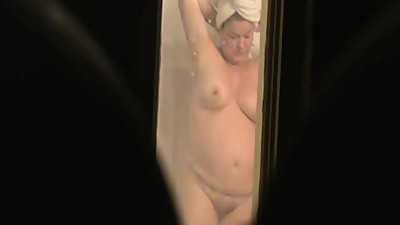 Plump Mature Drying After Her Shower