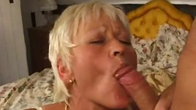 Horny blonde bitchswallows hot cum.