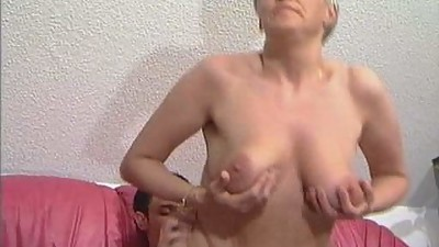 Grey Haired Granny in Stockings Fucks..