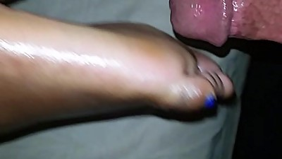 Blue metallic toes footjob