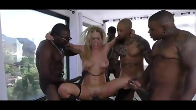 BLONDES WIFES HARD GANGBANG BY BLACK..