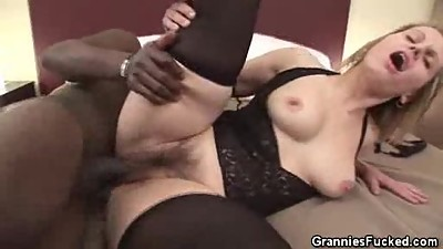 Hairy Pussy Granny Breeded By A Black..
