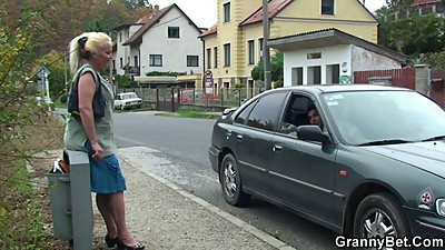 Old lady is picked up and fucked