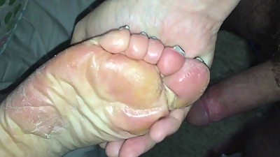 cum on mature soles