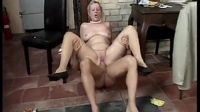 Blonde mature has fun away from the..