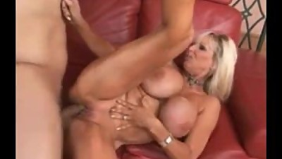 Bleach blonde fake tit MILF pounded on..