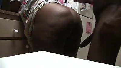 Ebony Milf Fucked In The Kitchen