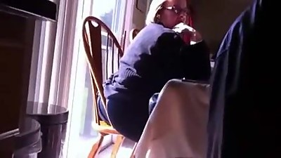 Mature MIL Ass Hanging Out of Chair..