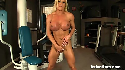 Fitness model shows and rubs her pussy..