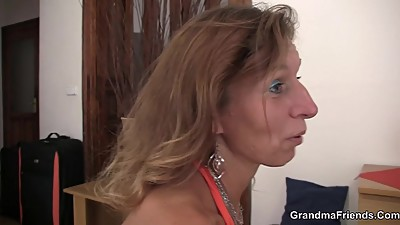 Sexy grandma in lingerie sucks and..