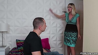 Super hot milf jerks off a young man